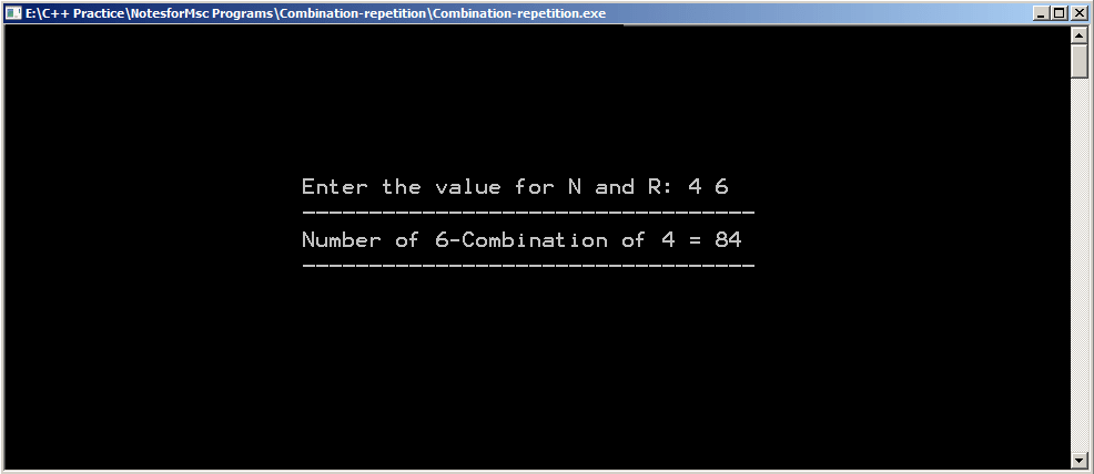 Output : R-combination with repetition