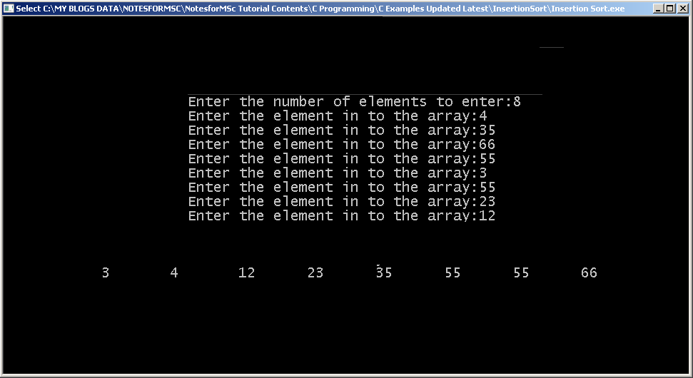 Output - Implementing Insertion Sort
