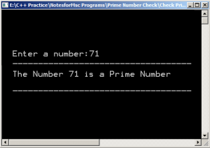 Output-Prime Number Check