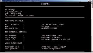 Output : Program to Write a Biodata in C++
