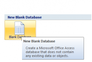 Click Blank Database