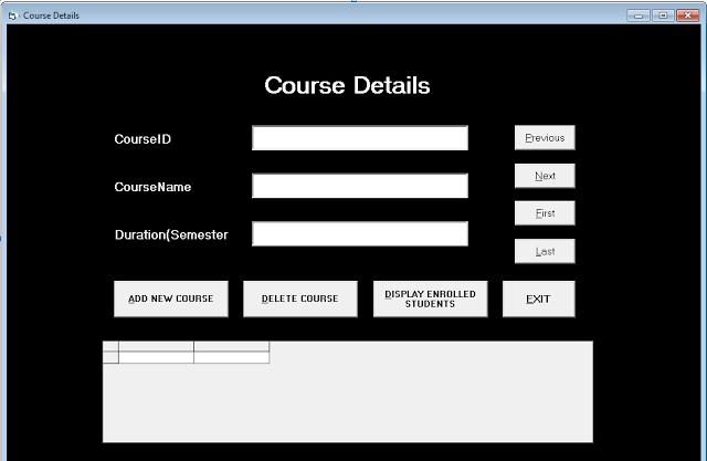Form Course Details - Student Management