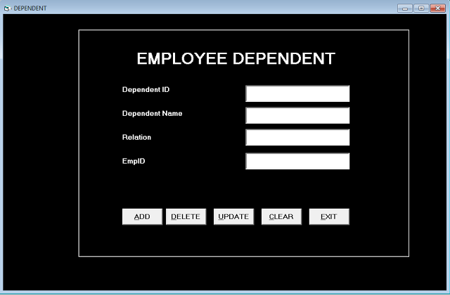 Form Dependent - Employee Record Management System