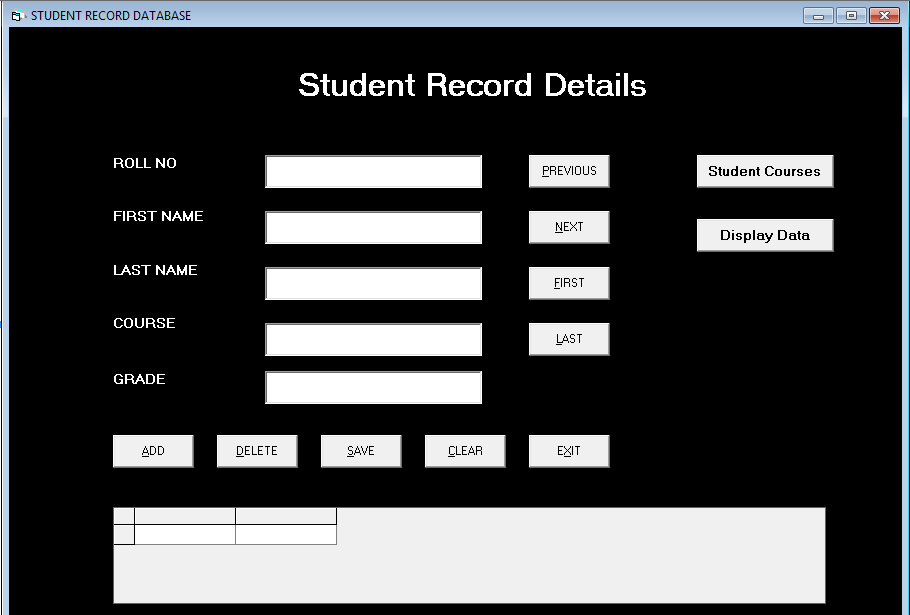 Form Student Record Details - Student Management