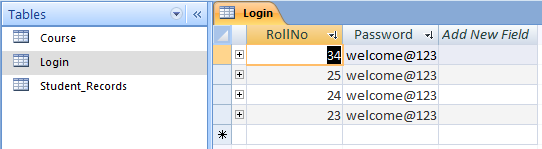 Login Table in Design View