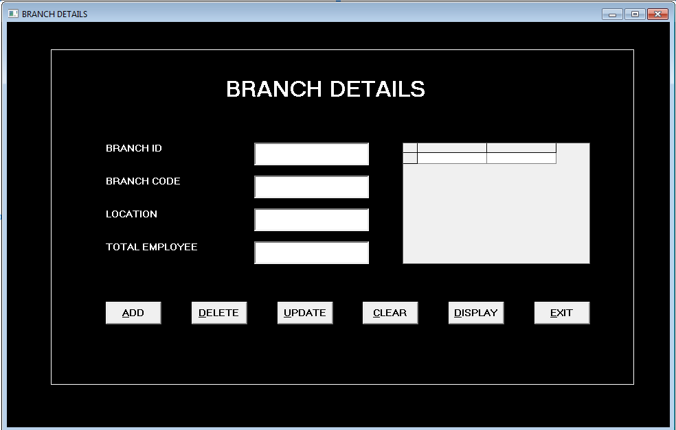 Form Bank Branch -bank management system in vb 6.0 using ms access.