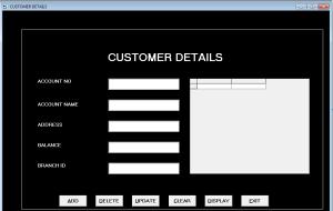 Form Customer Details - Bank Management System