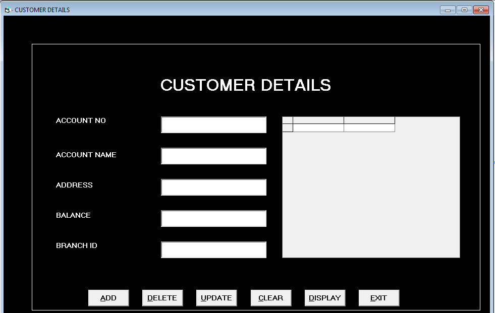 Form Customer Details - bank management system in vb 6.0 using ms access.