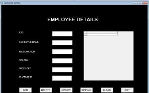 Form Employee Details - Bank Management System