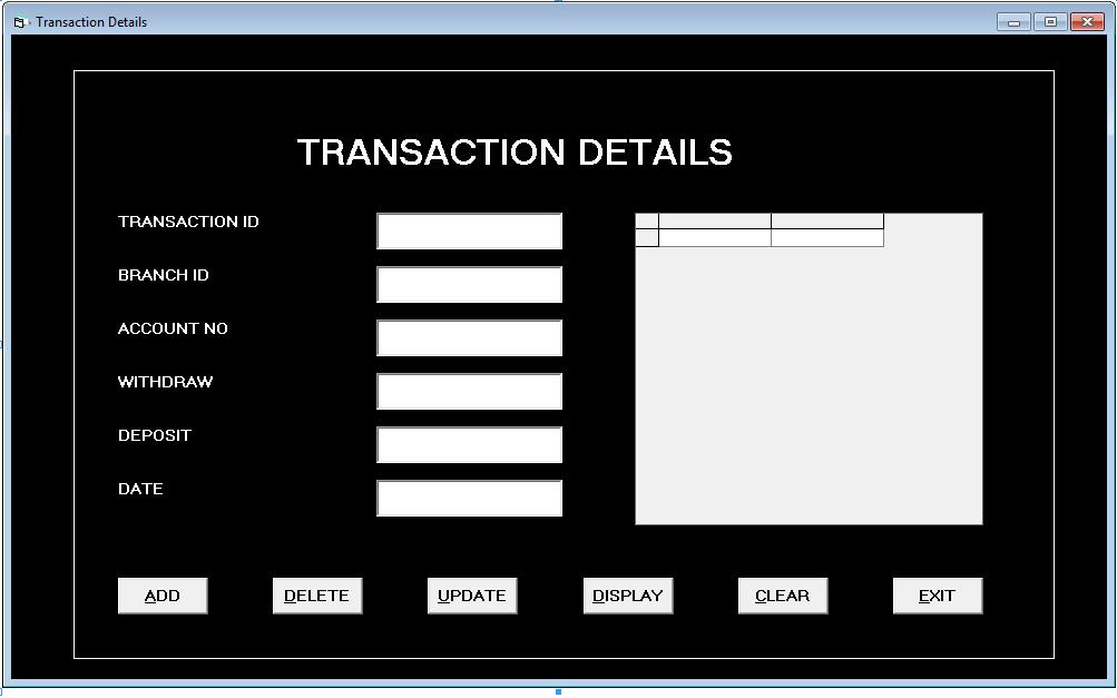 bank management system in vb 6 0 using ms access database notesformsc. Black Bedroom Furniture Sets. Home Design Ideas