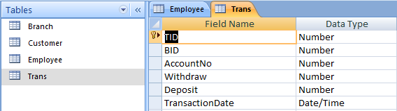 Transaction Table - Bank Management System