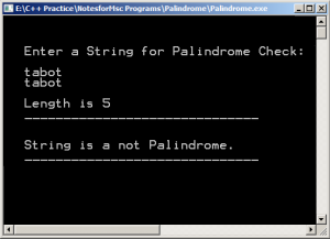 Output - Program to Check Palindrome String