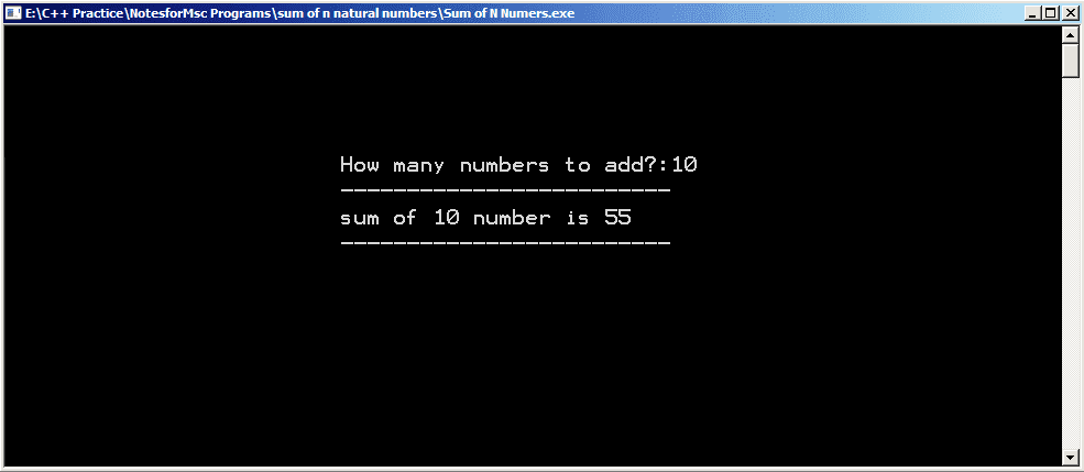 Output - Sum of First N Natural Numbers