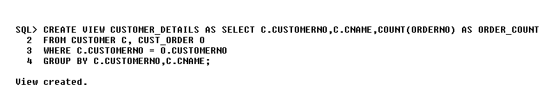 Solution G - View for Customer Order Table