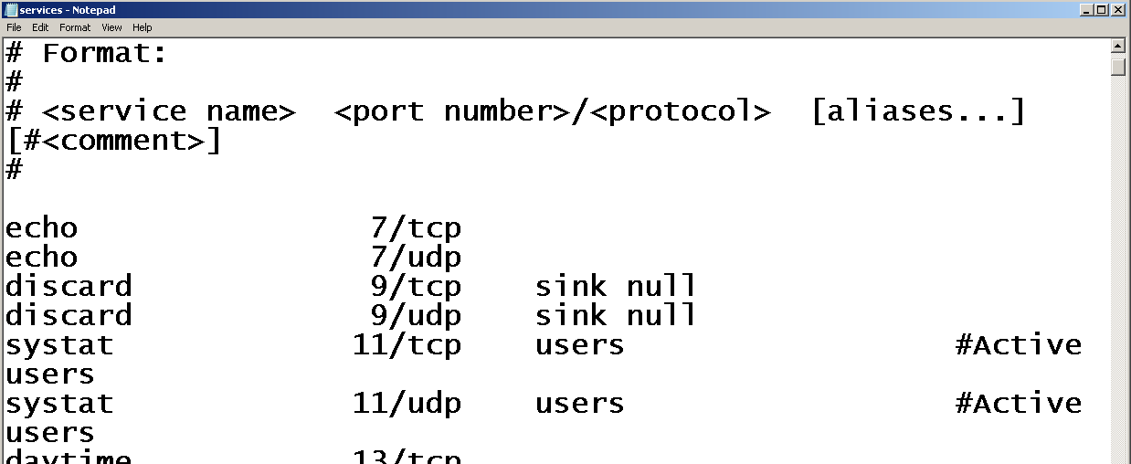 (TCP and UDP) Services and Port Numbers on Windows
