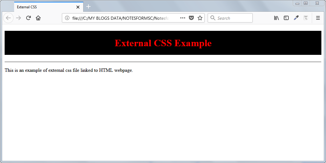 Result of external CSS applied to HTML page.