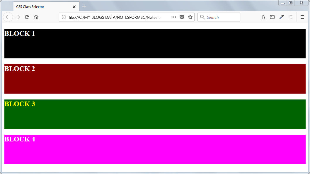 Result of Class CSS Selectors