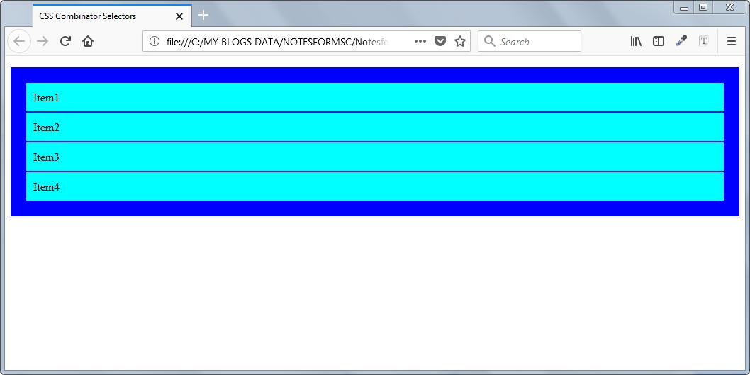 Result of Example - Combinator CSS Selectors