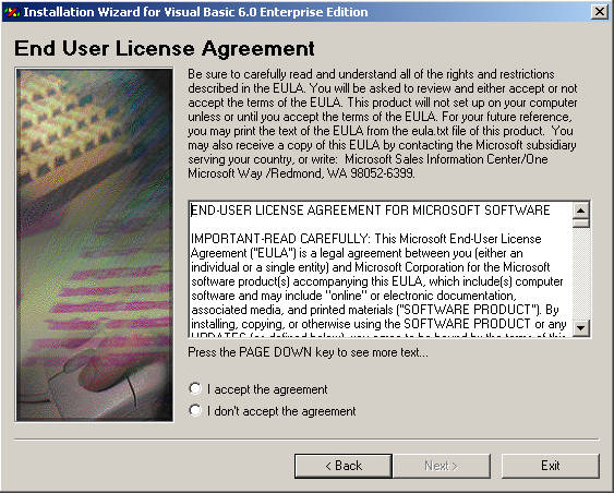 Visual Basic Installation - End User License Agreement