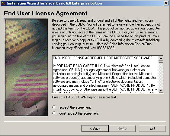 Visual Basic Installation - End User License Agreement
