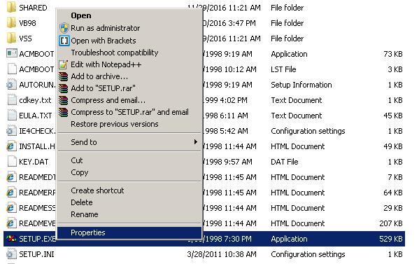Visual Basic 6.0 Setup.exe - go to properties