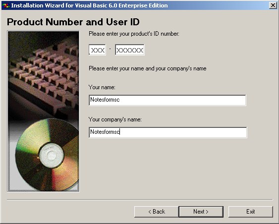 Enter Product Number and User ID