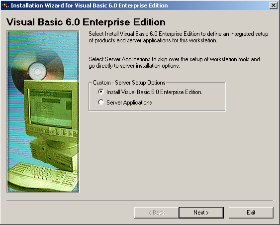 Visual Basic 6.0 Installation Guide - Custom Server Setup Options