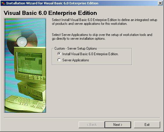 Visual Basic 6.0 Installation Guide - Custom Server Setup Options