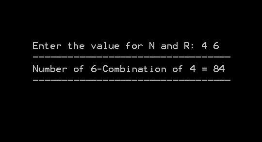 Output 5 - Combination With Repetition Allowed