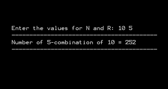 Output 4 - Combination With Repetition