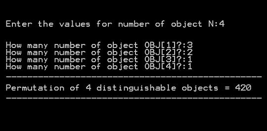 Output 3 - Permutation of indistinguishable Objects