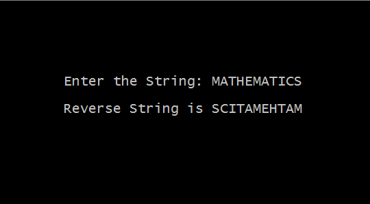 Output - C Program to Reverse a Given String