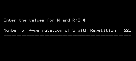Output 2 - Permutation With Repetition Allowed
