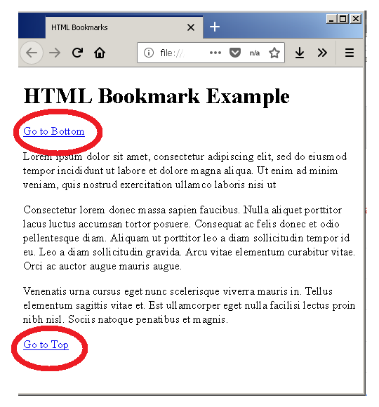 Output - HTML Bookmarks
