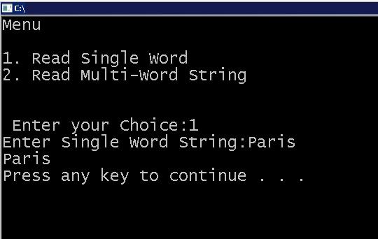 Output - String Program