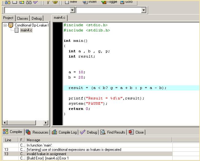 Lvalue Problem - Conditional Operator