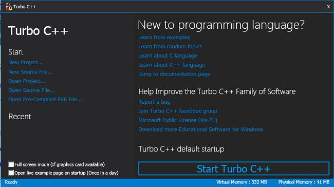 Turbo C++ Initial Screen