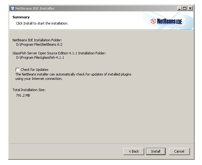 Summary page netbeans