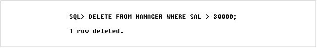 Figure 7: DELETE command on MANAGER relation