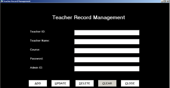 Form Design Teacher Record