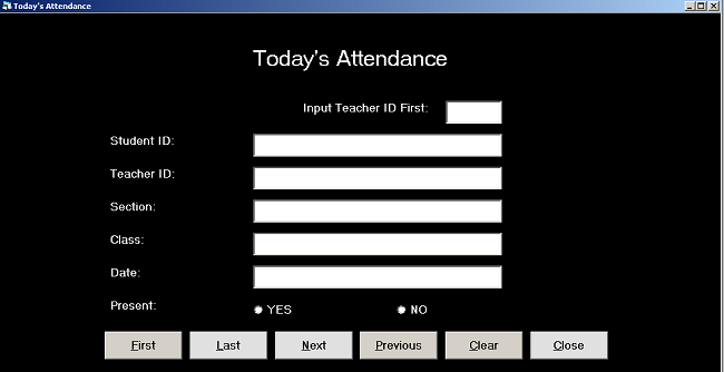 Form Design Today Attendance