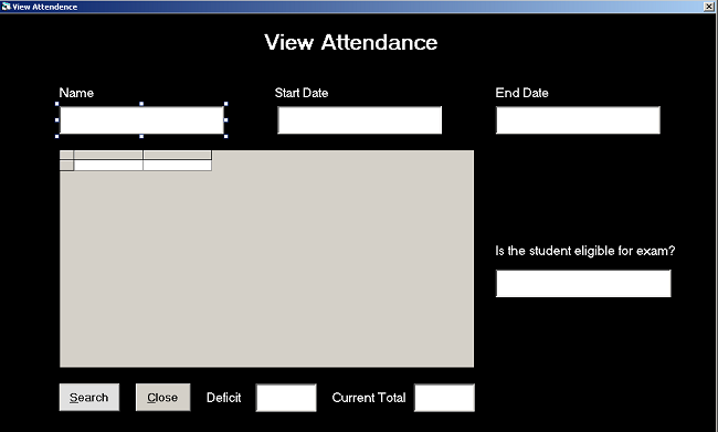 Form Design View Attendance