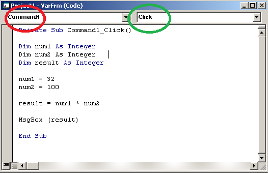 Code for Command button