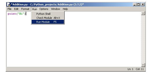 Execute Python Script from Run > Run Module