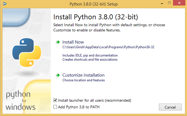 Install Python with default settings