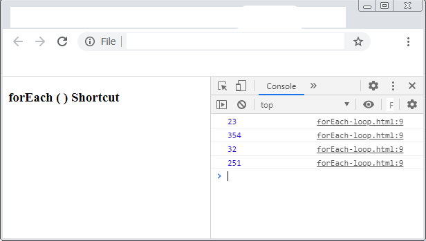 Output - forEach ( ) with function variable