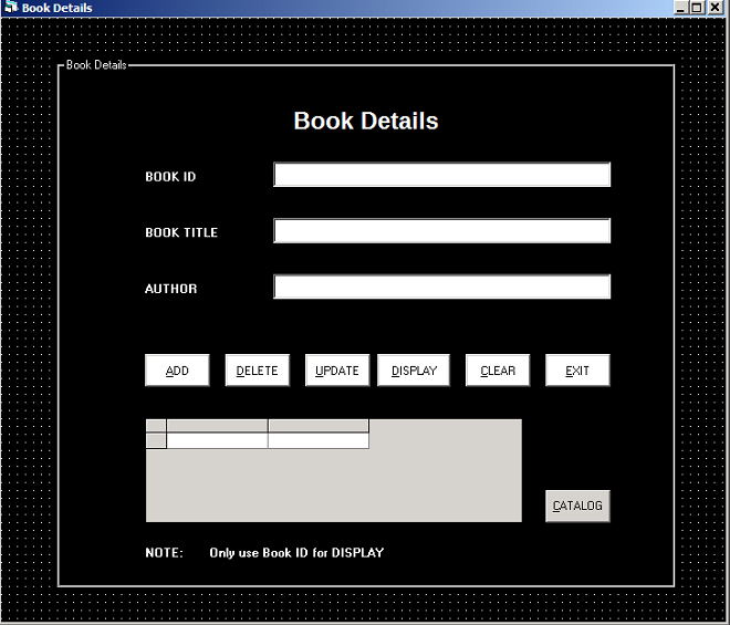 Library Management - frmBook to view book details.