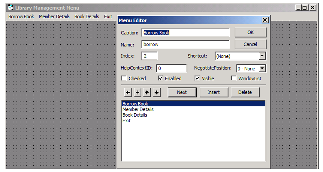 MDI Form with Menu - Form Book Details - Library Management System using VB 6 with MS Access