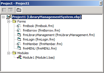 Project explorer showing all forms